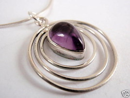 Purple Amethyst Triple Hoop 925 Sterling Silver Necklace Corona Sun Jewelry - $19.75