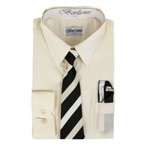 Berlioni Italy Toddlers Kids Boys Long Sleeve Dress Shirt Set With Tie & Hanky image 11
