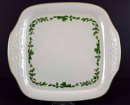 "LENOX China Holiday Dimension Square Cake Plate 12-3/8"" Handled Dinnerware - $24.74"