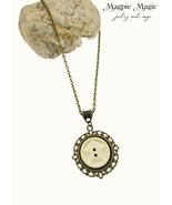 Heritage Drop Necklace: vintage button & antique brass filigree round focal - $14.00