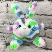 Bunny Rabbit Plush Multi Color Chevron Striped Round Stuffed Easter Toy - $9.89