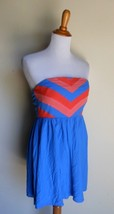 COOPERATIVE URBAN OUTFITTERS ~  SIZE 2 BLUE & CORAL EMPIRE SUN DRESS - £13.95 GBP