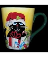 Set of Two 2 Hausenware Christmas Kitty Cat Ceramic Coffee Cup Mugs M J ... - $47.99