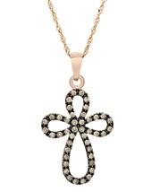 10 K Rose Gold 0.40 Ct Congac Diamond Cross Pendant with 10 K Rose Gold Chain. image 1