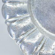 Vintage Hand Engraved Hammered Floral Pattern Silver-Tone Metal Serving Platter image 5