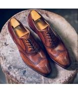 Elegant Handmade Men's Brow Shoes, Men Leather Suede Dress Formal Lace U... - $144.99+