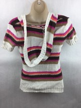 Girl's Justice Pink Orange Brown & White Striped Knit Hooded Top Size 14 image 2