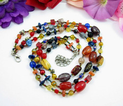 Esmore Triple Strand ART GLASS Beads  Vintage Necklace 3 Beaded Red Blue... - $29.99