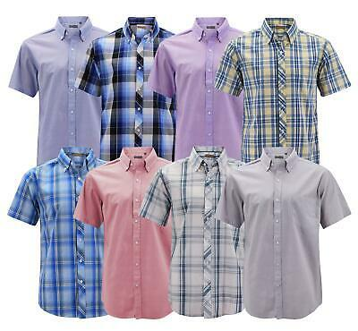 Men's Cotton Casual Short Sleeve Classic Collared Plaid Button Up Dress Shirt