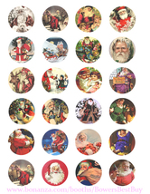 vintage christmas santa collage sheet 1.5 inch circles clip art digital ... - $2.50