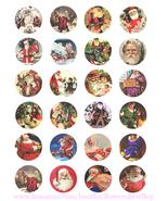 vintage christmas santa collage sheet 1.5 inch circles clip art digital ... - $2.50