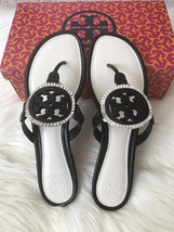 21daadca59e Img 1332 thumb200 Size 9.5M NIB Tory Burch MILLER Fringe Flat Leather Logo  Sandals ...