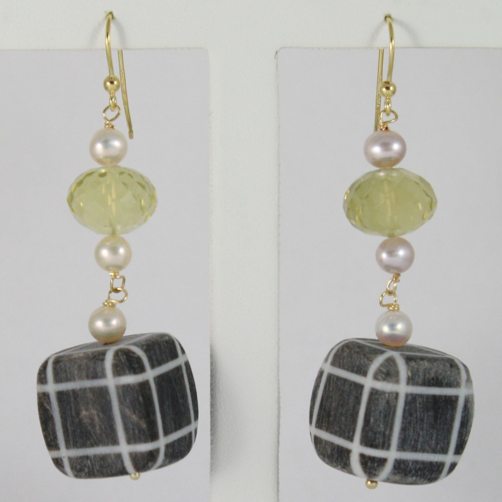 18K YELLOW GOLD PENDANT EARRINGS BIG STRIPED SQUARE HORN PEARLS AND LEMON QUARTZ