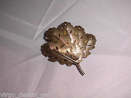 VTG Gold Tone Textured Leaf Leaves Brooch Pin  - $19.80