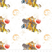 Disney The Lion Guard All for One Lite Orange 100% Cotton fabric by the ... - $9.30