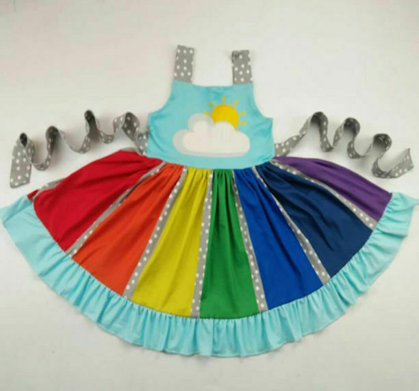 Primary image for NEW Boutique Rainbow Girls Sleeveless Ruffle Twirl Dress 3T 4T 5-6 7-8