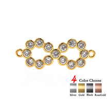 Infinity Charm Connector Pave Clear CZ for Women Jewelry Making Findings... - $4.99