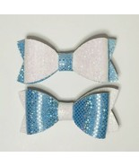 Set Of Two Mermaid Theme Sparkly Hair Bows. Frozen Blue & White. Gift Id... - $3.83