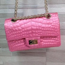 Authentic Chanel Classic 2.55 Reissue Mini Double Flap Bag Pink Silk GHW image 3