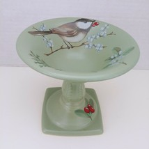 Pfaltzgraff Winterwood Small Footed Pedestal Bowl Bird Nature Winter Green USA - $24.04