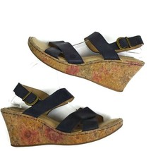 Born Womens Sandals 11 Cia 18 Black Floral Wedge Leather Shoes  - $20.00