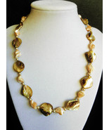 "19"" genuine mother of pearl, shell,  golden tones necklace - $98.00"