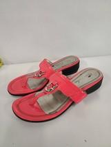 Mark Fisher Womens Size 9M Sandal Slide Slip On Mfarock Patent Hot Pink Shoe Toe - $38.99