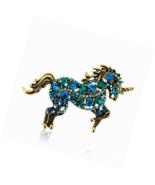 Unicorn Brooch Pins Animal  Rhinestone Hollow Plating Metal Blue Horse - $18.91