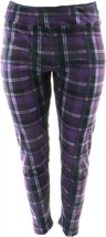 Cuddl Duds Double Plush Velour Leggings Purple Navy XL NEW A293100 - $18.79