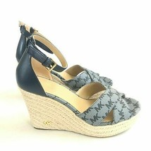 Michael Kors Desiree Blue Mk Logo Monogram Jute Wedge Heels Espadrille 8 M New - $50.00