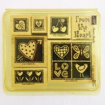 Vintage Stampin Up Wood Mounted Rubber Stamps Heart Blocks Set of 7 - $14.49