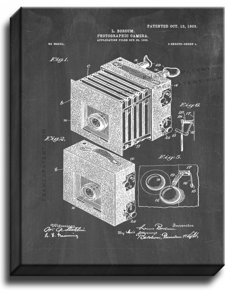 Primary image for Photographic Camera Patent Print Chalkboard on Canvas