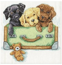 Design Works Cross Stitch Kit Suitcase of Labs Puppy Teddy Bear 12x12 Co... - $19.26