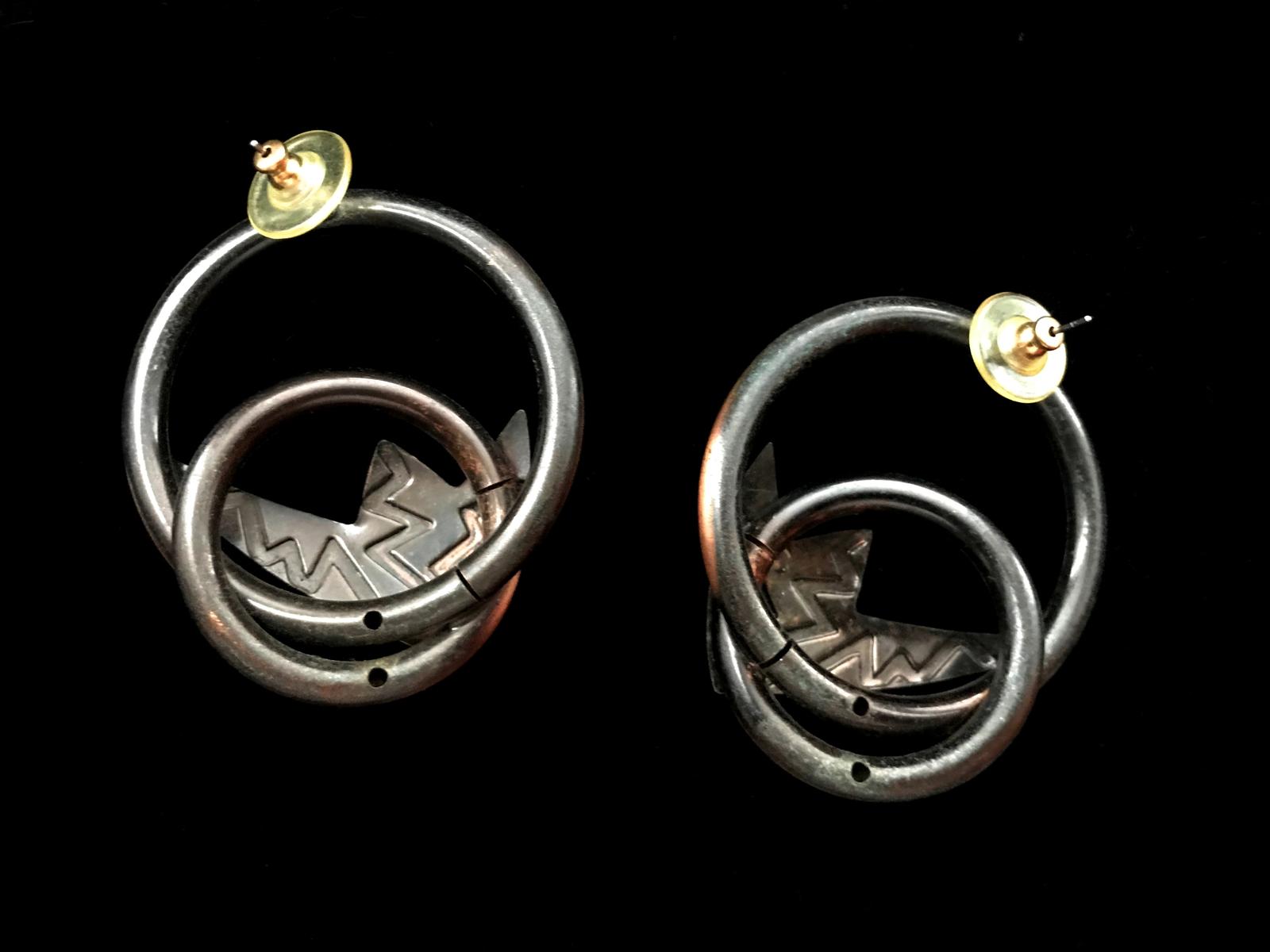60s-70s Set of Copper Link Bracelet, Lawton Signed Brooch & Huge Pierced Earring