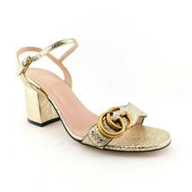 GUCCI Size 7 GG MARMONT Gold Foil Ankle Strap Sandals Shoes 37 Eur - $579.00