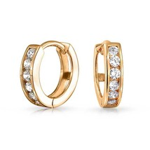 14K Yellow Gold Huggie Channel Set Simulated Diamond Hoop Earrings 11mm ... - $62.56