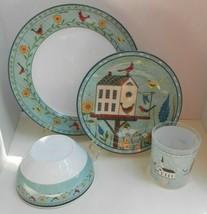 19 WARREN KIMBLE BIRDHOUSE Melamine dinnerware dinner plates tumbler bow... - $45.53