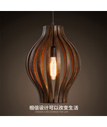 Vintage Wood Barrel Pendant Antique Hanging Light Ceiling Lamp Cafe Ligh... - £138.58 GBP