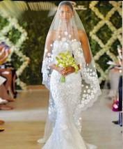 Bridal Veil White/Ivory 3m Long Wedding Veil lace flowers rhinesthone - $57.42