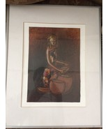 African Painting Vintage Framed Woman Grain Grater Copper Art - $58.05