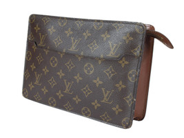 Auth LOUIS VUITTON Homme Monogram Canvas Leather Clutch Bag LP2525 - $219.00