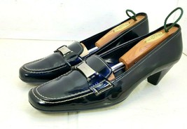 Prada Heel Shoes Black Patent Leather W/ Silver Logo Made in Italy Size 36 - $79.18