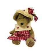 Boyds Bear Plush Prudence Bearimore In Red Gingham Dress Straw Hat W/ Fl... - $15.50