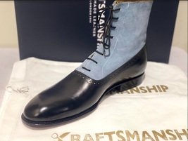 Handmade Men's Black & Grey Leather Suede High Ankle Lace Up Dress/Formal Boot image 2