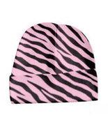 Newborn Pink Zebra Baby Beanie Hat Size 8-13 Pounds - $8.00