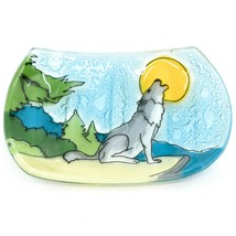 Fused Art Glass Wolf Coyote Howling at Moon Design Soap Dish Handmade in Ecuador