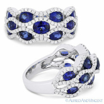 3.53 ct Oval Cut Sapphire & Diamond Pave 18k White Gold Right-Hand Fashion Ring - $3,118.49