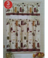 Wine Design Curtains 3-pc Tiers & Valance Kitchen Tuscan Decor Grapes Bo... - $16.99