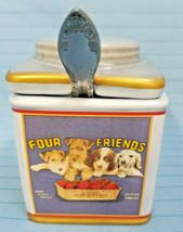Sakura Vintage Labels Jelly Jar Container Four Friends Dogs Design - $29.95