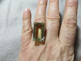 Art Deco 30's 925 Sterling Japan Large Faceted Citrine Stone Cocktail Ring s 6 - $94.99